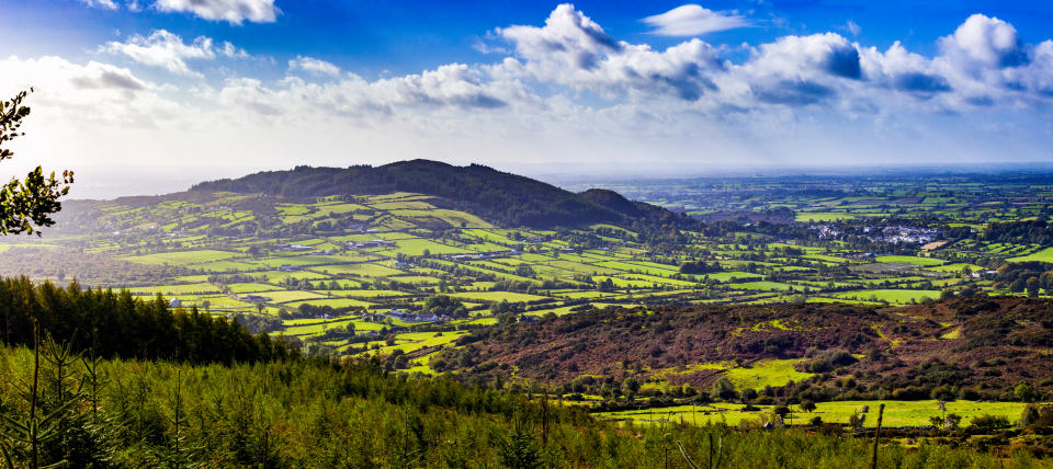 The Ring of Gullion from the top of Sleive Gullion a extinct Volcano in County Armagh, Northern Ireland. Blow Holes or small mountains surround the Volcano
