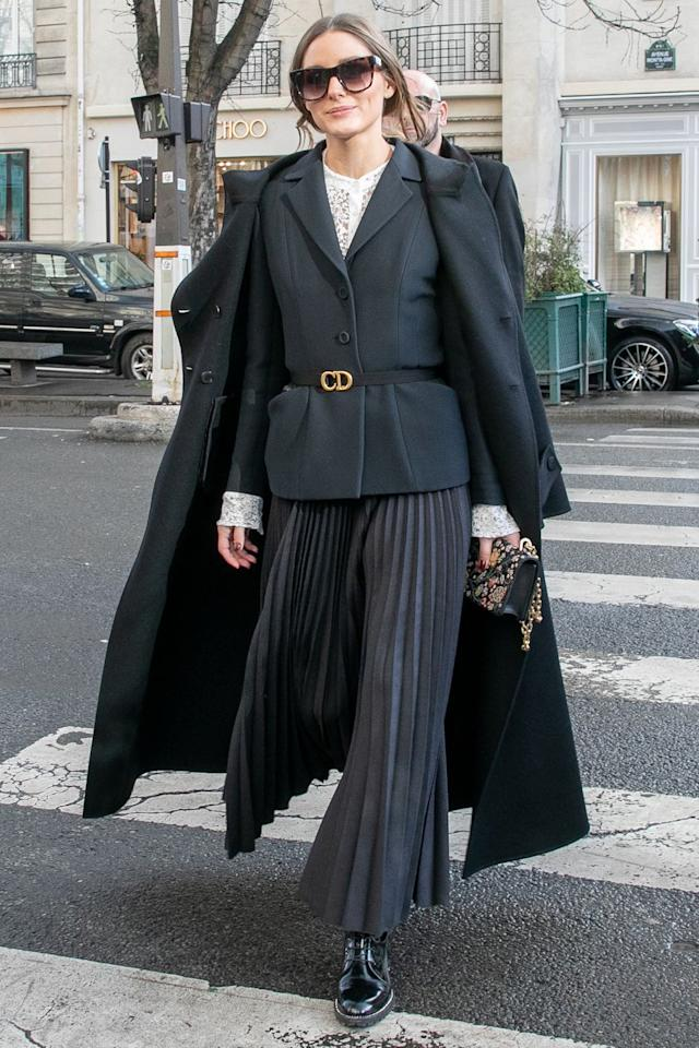 <p><strong>17 January </strong>Olivia Palermo added definition to her tailoring with a Dior belt. <strong></strong></p>