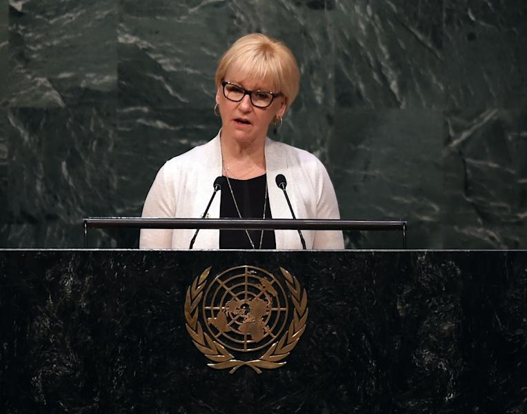 Sweden's Foreign Minister Margot Wallstrom is the undisputed star of her government, but critics wonder whether her tendency to speak her mind -- not a quality traditionally found in diplomats -- is good for the country (AFP Photo/Timothy A. Clary)