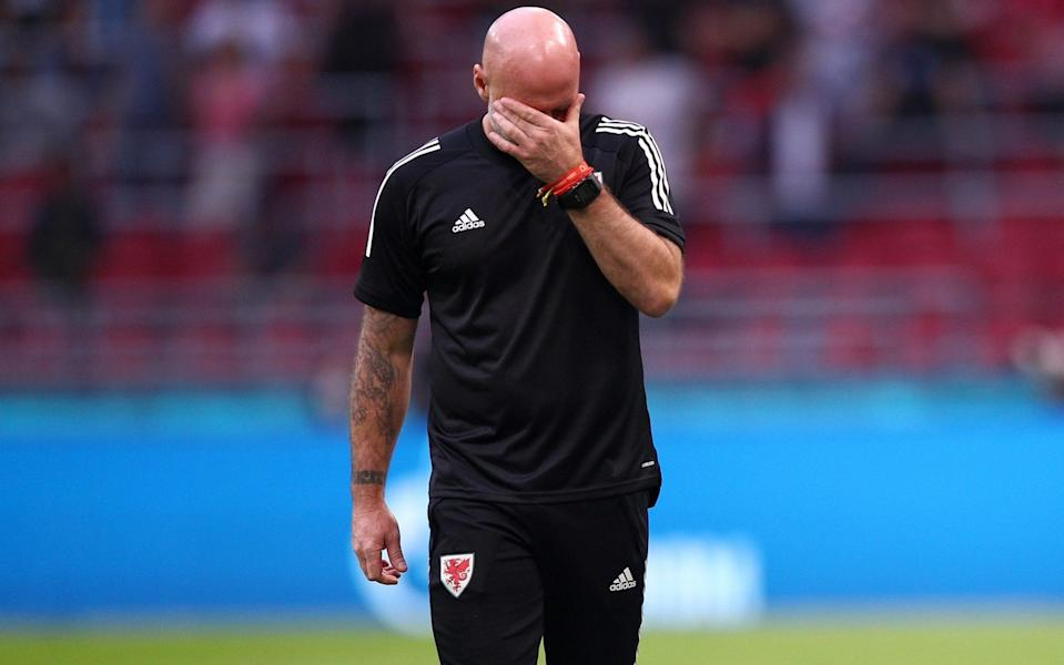 Rob Page lets his emotions show at full time - GETTY IMAGES