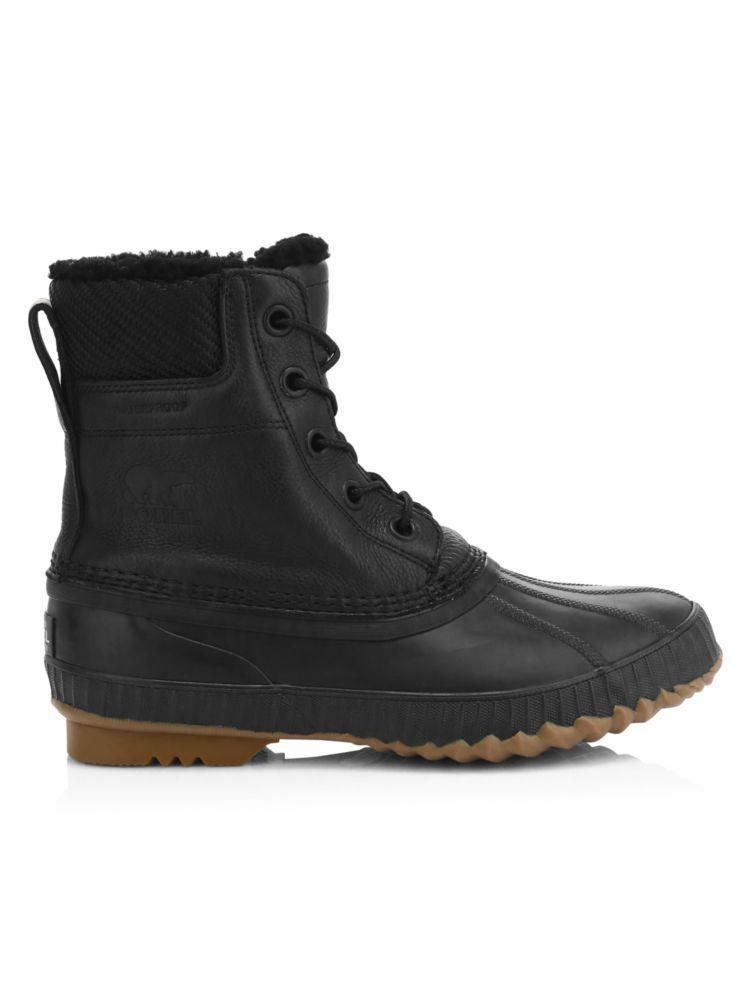 "<p><strong>Sorel</strong></p><p>saksfifthavenue.com</p><p><strong>$185.00</strong></p><p><a href=""https://go.redirectingat.com?id=74968X1596630&url=https%3A%2F%2Fwww.saksfifthavenue.com%2Fsorel-cheyanne-ii-shearling-lined-waterproof-leather-boots%2Fproduct%2F0400011045876&sref=https%3A%2F%2Fwww.harpersbazaar.com%2Ffashion%2Ftrends%2Fg4473%2Fmens-holiday-gift-guide%2F"" rel=""nofollow noopener"" target=""_blank"" data-ylk=""slk:Shop Now"" class=""link rapid-noclick-resp"">Shop Now</a></p><p>The perfect waterproof boot for rain or snow. </p>"