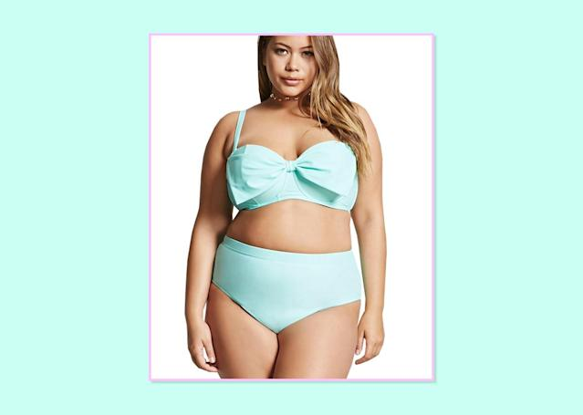 """<p><a href=""""http://www.forever21.com/Product/Product.aspx?br=PLUS&category=plus_size-main&productid=2000209613"""" rel=""""nofollow noopener"""" target=""""_blank"""" data-ylk=""""slk:Top"""" class=""""link rapid-noclick-resp"""">Top</a>, $19.90, and <a href=""""http://www.forever21.com/Product/Product.aspx?BR=plus&Category=plus_size-swimwear&ProductID=2000209622&VariantID="""" rel=""""nofollow noopener"""" target=""""_blank"""" data-ylk=""""slk:bottom"""" class=""""link rapid-noclick-resp"""">bottom</a>, $17.90; Forever 21. </p>"""