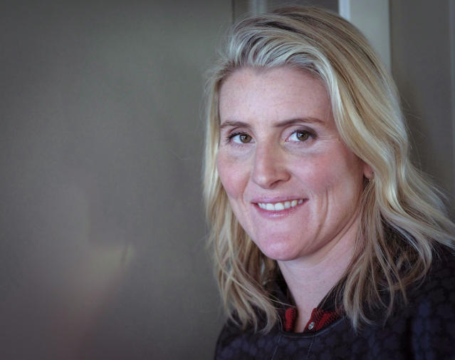 Hayley Wickenheiser poses for a portrait in Calgary, Alberta, Wednesday, Jan. 11, 2017. Canadian women's hockey star Hayley Wickenheiser is expected to headline the Hockey Hall of Fame's class of 2019 that could also include Daniel Alfredsson among the former NHL player inductees. (Jeff McIntosh/The Canadian Press via AP)