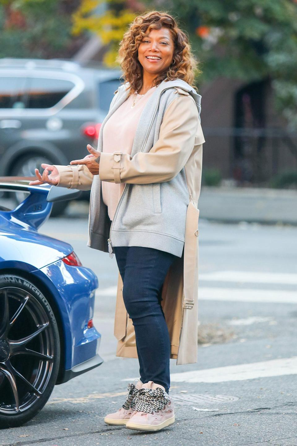 <p>Queen Latifah is all smiles on the set of <em>The Equalizer</em> TV series on Monday in N.Y.C.</p>