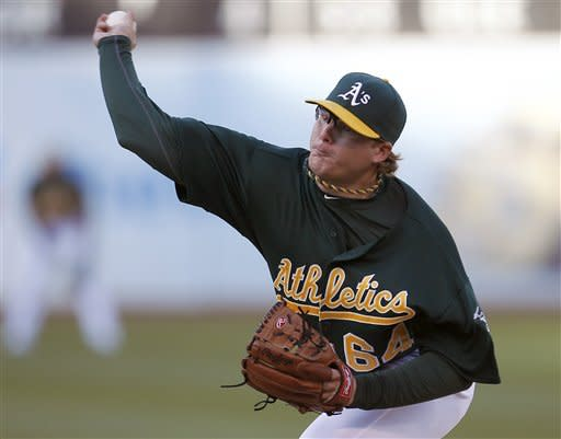 Oakland Athletics starting pitcher A.J. Griffin (64) works against the Boston Red Sox in the first inning of a baseball game Saturday, Sept. 1, 2012 in Oakland, Calif. (AP Photo/ Tony Avelar)