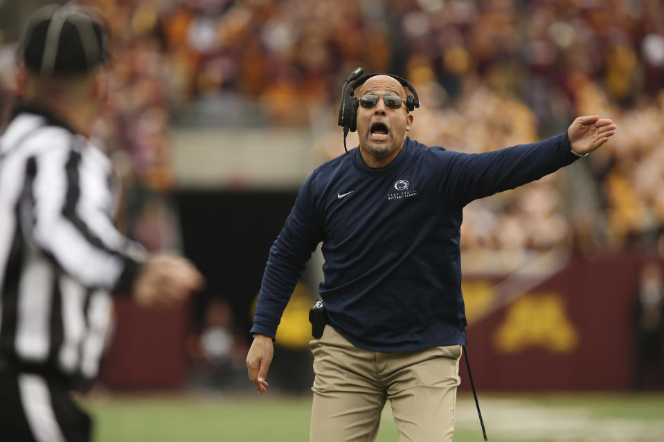 Penn State head coach James Franklin shouts during an NCAA college football game against Minnesota, Saturday, Nov. 9, 2019, in Minneapolis. Minnesota won 31-26. (AP Photo/Stacy Bengs)
