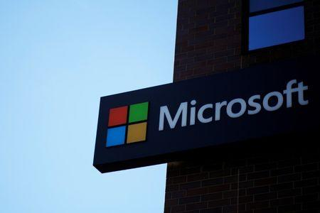 FILE PHOTO: A sign marks the Microsoft office in Cambridge