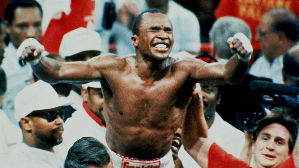 "Mandatory Credit: Photo by Leonard Ignelzi/AP/Shutterstock (6564350a)Sugar Ray Leonard celebrates his middleweight boxing championship title after winning a 12-round split decision over middleweight champion ""Marvelous"" Marvin Hagler in Las Vegas, Nevada, ."