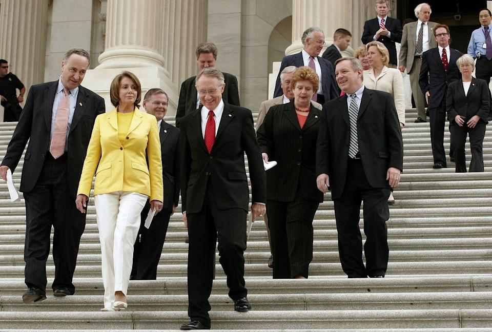 <p>Pelosi departs the Senate with other Congressional Democrats after holding a press conference. </p>