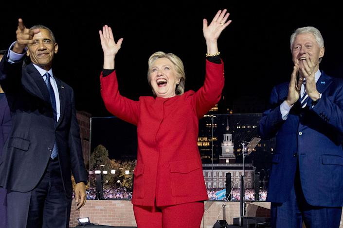 <p>Democratic presidential candidate Hillary Clinton, center, is joined on stage by President Barack Obama left, and former President Bill Clinton, right, after speaking at a rally at Independence Mall in Philadelphia, Monday, Nov. 7, 2016. (Photo: Andrew Harnik/AP) </p>