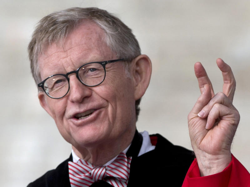 "In this Sunday, May 5, 2013 photo, Ohio State president E. Gordon Gee speaks during the Ohio State University spring commencement in Columbus, Ohio. Gee told a university committee last December that Notre Dame wasn't invited to join the Big Ten because they're not good partners while also jokingly saying that ""those damn Catholics"" can't be trusted. (AP Photo/Carolyn Kaster)"