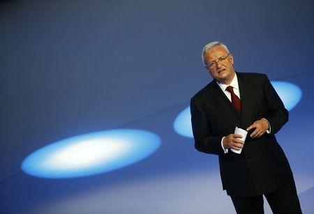 Volkswagen CEO Martin Winterkorn gives his closing speech during the Volkswagen group night ahead of the Frankfurt Motor Show (IAA) in Frankfurt, Germany, September 14, 2015.     REUTERS/Kai Pfaffenbach