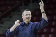 Louisville coach Jeff Walz instructs the team during the first half of an NCAA college basketball game against Boston College, Thursday, Jan. 16, 2020, in Boston. (AP Photo/Elise Amendola)