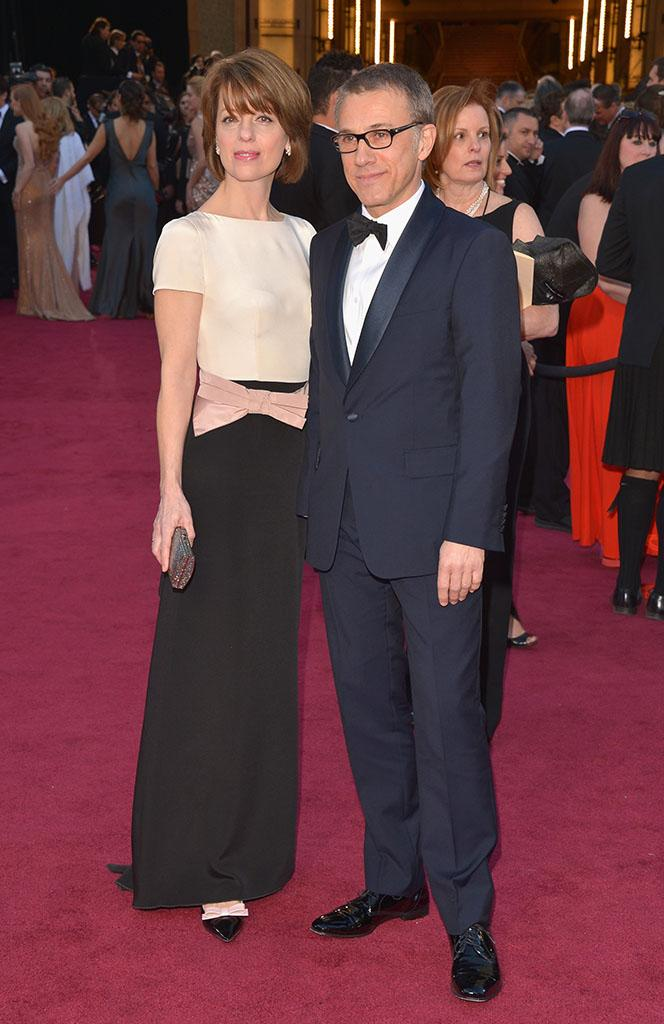 Christoph Waltz and Judith Holste arrive at the Oscars in Hollywood, California, on February 24, 2013.