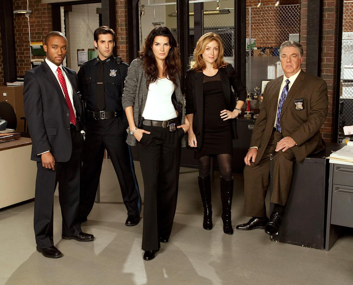 "Lee Thompson Young, Jordan Bridges, Angie Harmon, Sasha Alexander, and Bruce McGill in Season 1 of TNT's ""Rizzoli & Isles."""