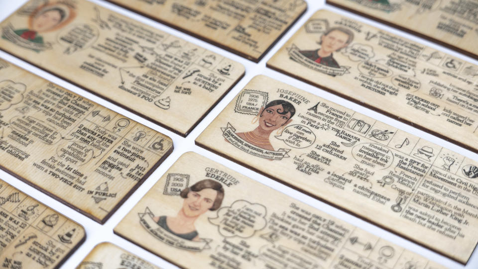 """Who's She?"" uses biography cards with fun facts and anecdotes about each inspiring woman. (Photo: Playeress)"