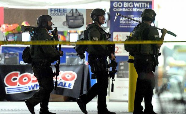 PHOTO:Heavily armed police officers exit the Costco following a shooting inside the wholesale warehouse in Corona, Calif., June 14, 2019. (Will Lester/Inland Valley Daily Bulletin/SCNG via AP)