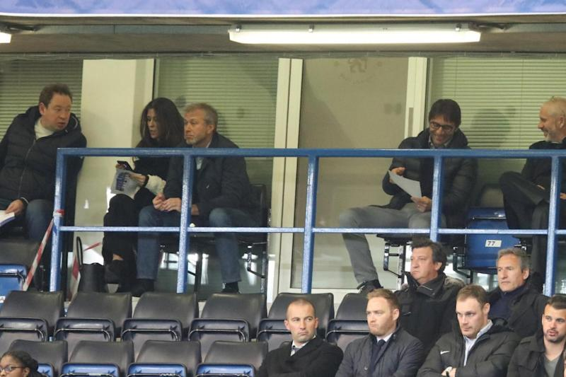 Present: Antonio Conte watches the FA Youth Cup final alongside Chelsea owner Roman Abramovich (Getty Images)