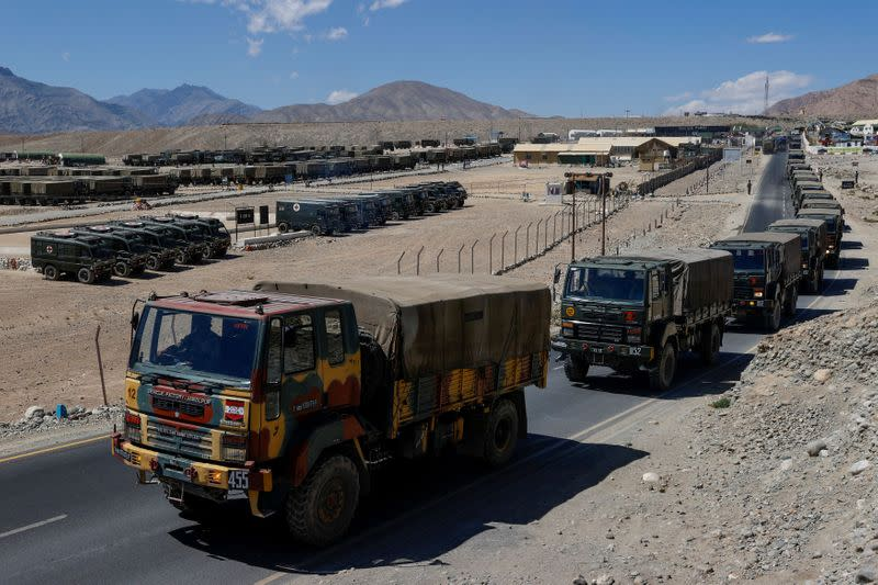 FILE PHOTO: Military trucks carrying supplies move towards forward areas in the Ladakh region