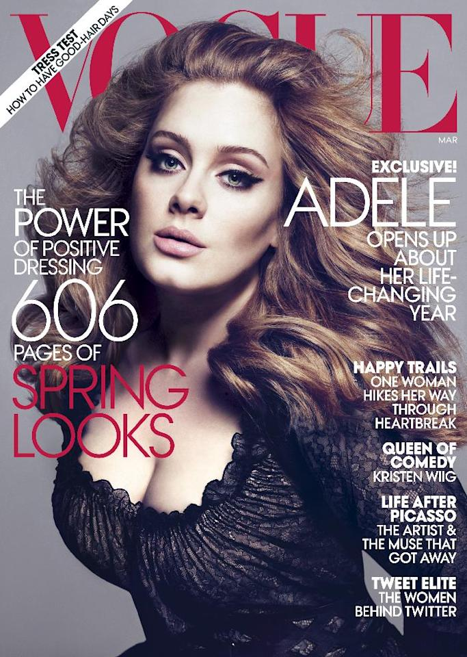 "In this magazine cover image photographed by Mert Alas and Marcus Piggott and released by Vogue, singer Adele is shown on the cover of the March issue of ""Vogue."" The singer vows to ""never"" write a breakup record again and adds she's ""done being a bitter witch."" (AP Photo/Vogue)"
