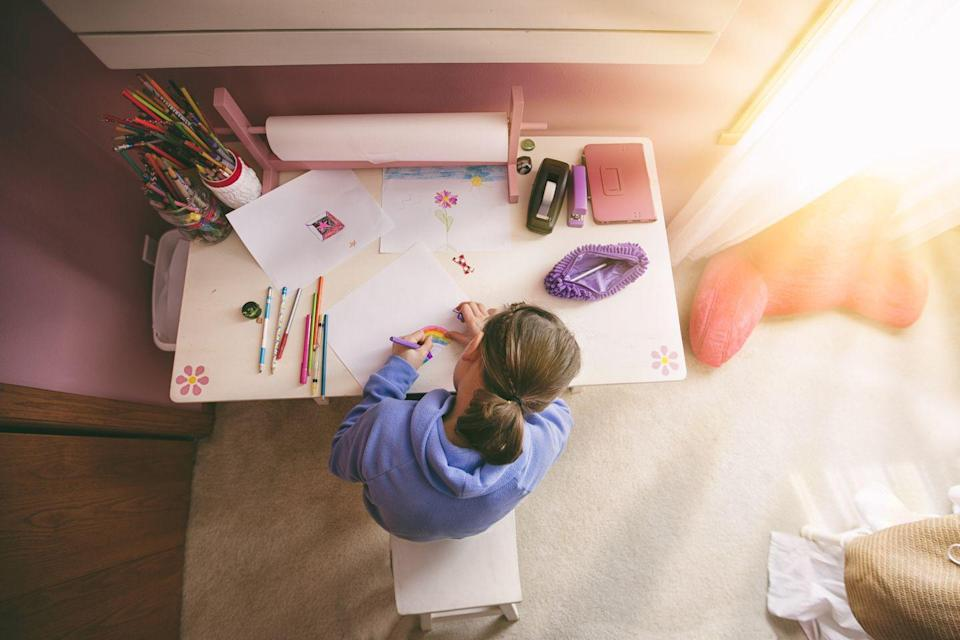 """<p>""""In order to organize a powerhouse homework station, you must first understand the needs of the child or children,"""" says <a href=""""https://www.jessicaorganizesyou.com/"""" rel=""""nofollow noopener"""" target=""""_blank"""" data-ylk=""""slk:Jessica Kennedy"""" class=""""link rapid-noclick-resp"""">Jessica Kennedy</a>, productivity and organizing professional. """"Organize the necessary tools and supplies in bins or baskets, and color code them if they're being used by multiple children. Label every <a href=""""https://www.amazon.com/Emraw-Utility-Storage-Box-Organizer/dp/B07D93L7B6?tag=syn-yahoo-20&ascsubtag=%5Bartid%7C10055.g.2358%5Bsrc%7Cyahoo-us"""" rel=""""nofollow noopener"""" target=""""_blank"""" data-ylk=""""slk:bin"""" class=""""link rapid-noclick-resp"""">bin</a> and <a href=""""https://www.amazon.com/Spectrum-Diversified-Storage-Basket-Medium/dp/B00JSLDDVA?tag=syn-yahoo-20&ascsubtag=%5Bartid%7C10055.g.2358%5Bsrc%7Cyahoo-us"""" rel=""""nofollow noopener"""" target=""""_blank"""" data-ylk=""""slk:basket"""" class=""""link rapid-noclick-resp"""">basket</a>. Assign <a href=""""https://www.amazon.com/XBoard-Bulletin-Corkboard-Aluminum-Display/dp/B01LYS77RU?tag=syn-yahoo-20&ascsubtag=%5Bartid%7C10055.g.2358%5Bsrc%7Cyahoo-us"""" rel=""""nofollow noopener"""" target=""""_blank"""" data-ylk=""""slk:a spot to display"""" class=""""link rapid-noclick-resp"""">a spot to display</a> artwork or notes of encouragement. Be sure the space is well lit!"""" </p>"""