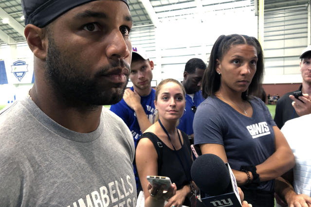 New York Giants' Golden Tate speaks to the media at the teams training facility in East Rutherford, N.J., Wednesday, Aug. 14, 2019. (AP Photo/Tom Canavan)