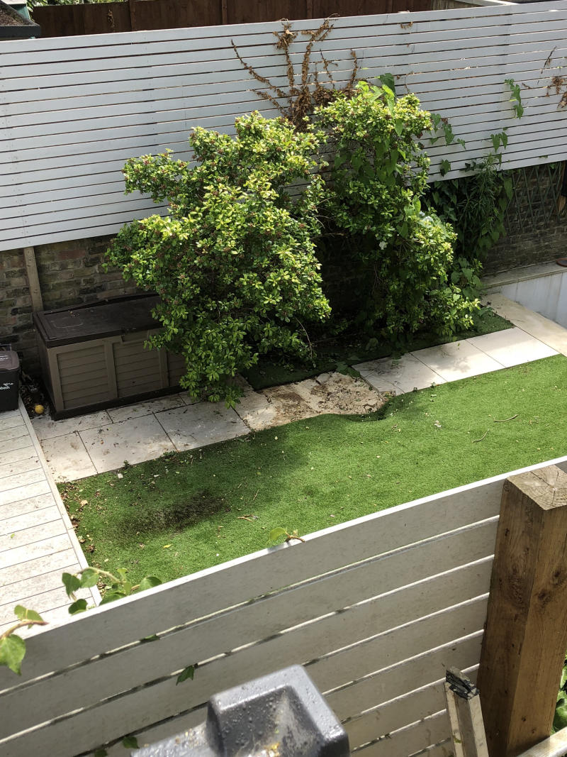 The force of the body falling from the plane dented paving slabs and astro turf in the garden in Clapham, South London (Picture: SWNS)