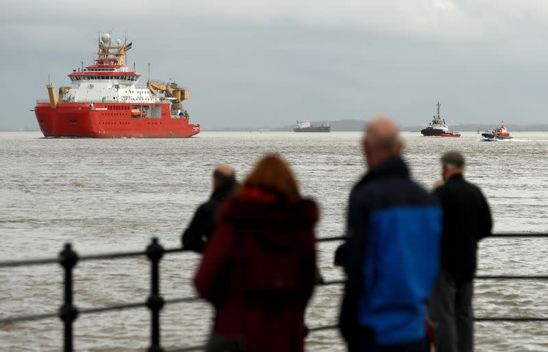 RRS Sir David Attenborough departs Cammell Laird shipyard, in Liverpool