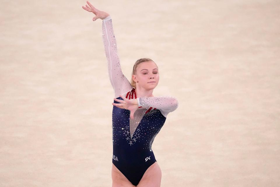 Jade Carey competes in the women's floor exercise final Monday.