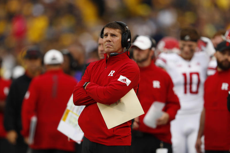 Rutgers head coach Chris Ash watches against Michigan in the first half of an NCAA college football game in Ann Arbor, Mich., Saturday, Sept. 28, 2019. (AP Photo/Paul Sancya)