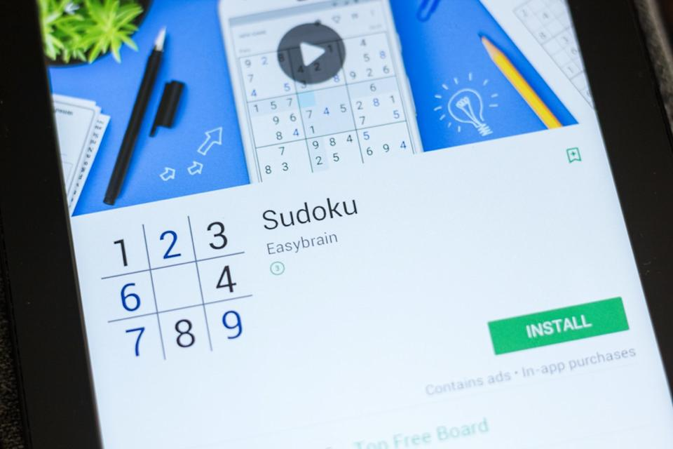 Sudoku mobile app on the display of tablet PC
