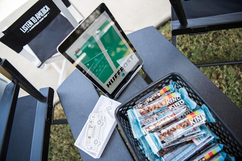 Kind bars are laid out and iPads are set up at the HuffPost site.