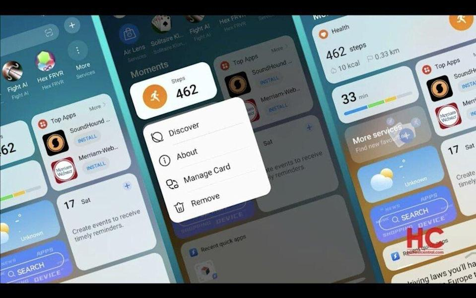 A screen capture from a Huawei Technologies Co video showing the user interface of its HarmonyOS 2.0 mobile platform. Photo: Handout