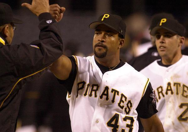 "Raul Mondesi (No. 43 here with the <a class=""link rapid-noclick-resp"" href=""/mlb/teams/pit/"" data-ylk=""slk:Pittsburgh Pirates"">Pittsburgh Pirates</a>) served as mayor of San Cristobal in the Dominican Republic for six years. (AP)"