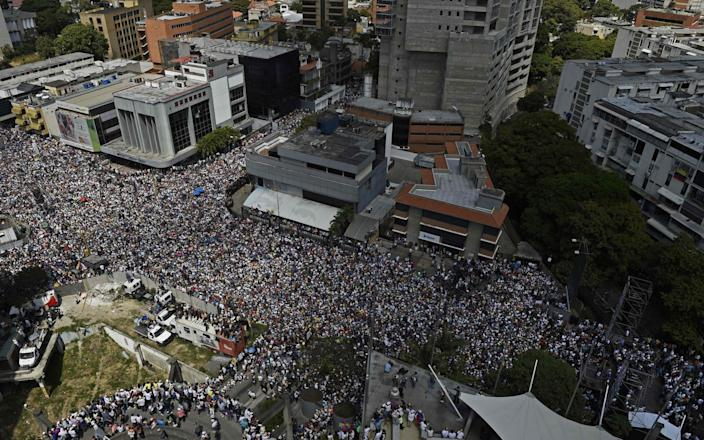 Supporters of Juan Guaido gathered in Caracas on Saturday - AFP