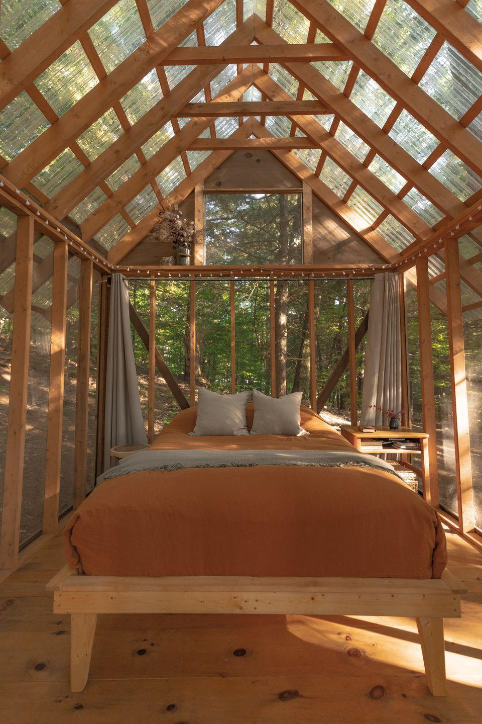 """<p>Tucked away in a forested grove on a flower farm, this glass cabin brings a whole new meaning to the word glamping. From hiking to paddling and rural road biking, it's the perfect escape for those looking for a little adventure. </p><p><a class=""""link rapid-noclick-resp"""" href=""""https://go.redirectingat.com?id=127X1599956&url=https%3A%2F%2Fwww.airbnb.co.uk%2Frooms%2F17072599&sref=https%3A%2F%2Fwww.housebeautiful.com%2Fuk%2Flifestyle%2Fproperty%2Fg35381593%2Fairbnb-most-liked-homes%2F"""" rel=""""nofollow noopener"""" target=""""_blank"""" data-ylk=""""slk:MORE INFO"""">MORE INFO</a></p>"""
