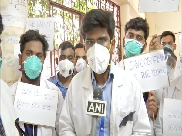 Junior doctors of Osmania General Hospital protesting in Hyderabad over alleged lack of basic medical facilities to treat patients.