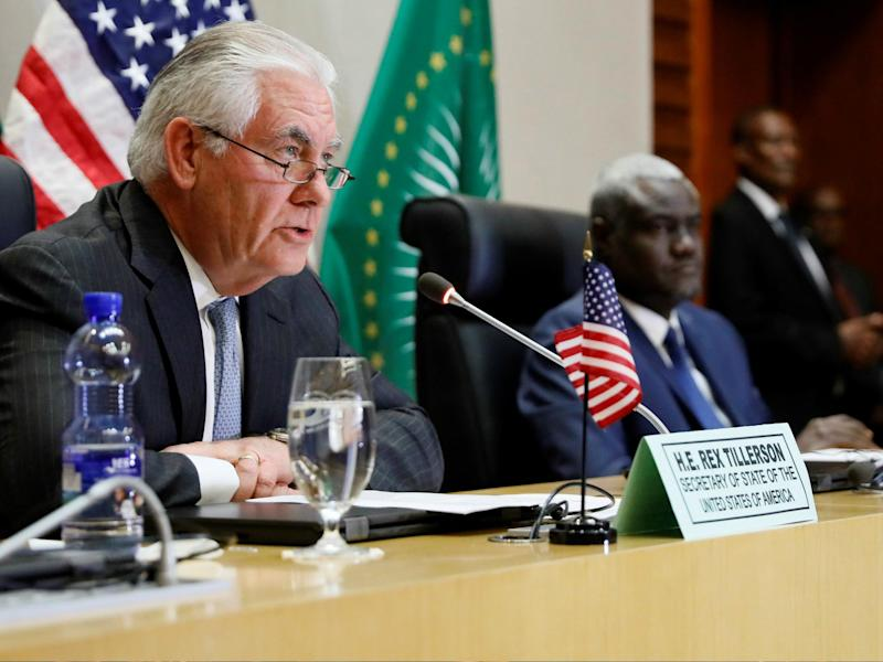 US Secretary of State Rex Tillerson participated in a news conference with African Union Commission Chairman Moussa Faki on 8 March 2018 in Addis Ababa: JONATHAN ERNST/AFP/Getty Images
