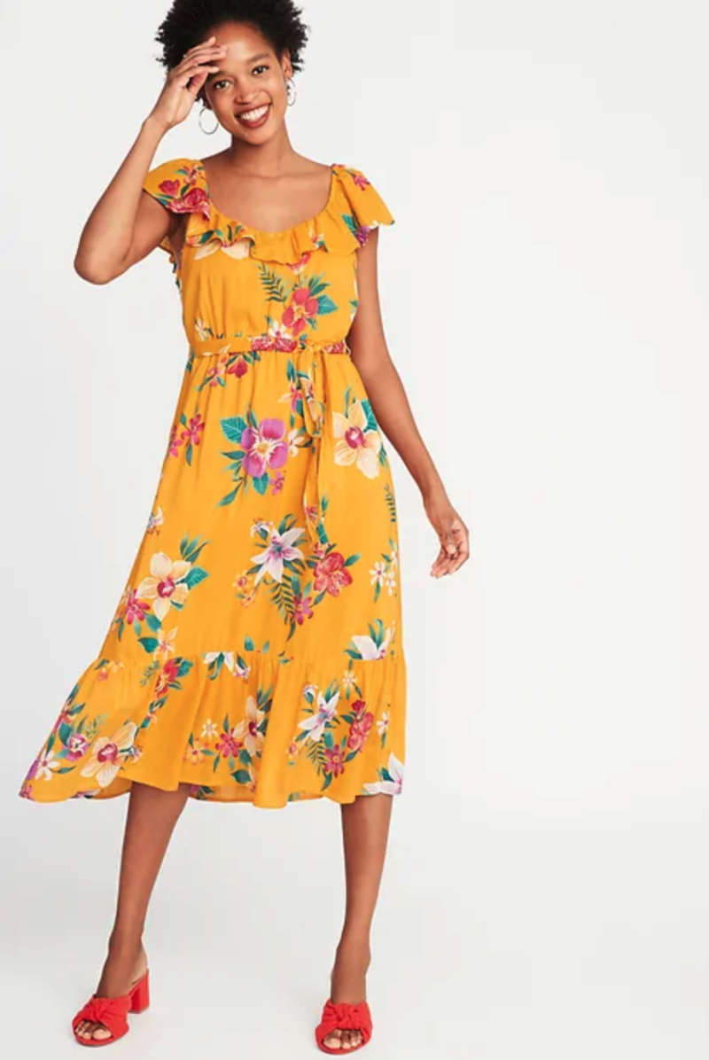 Ruffle Tie-belt Midi Dress. (Photo: Old Navy)