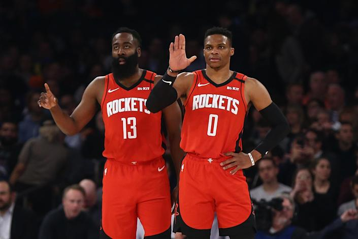 The reunion of James Harden and Russell Westbrook has yielded mixed results. (Mike Stobe/Getty Images)