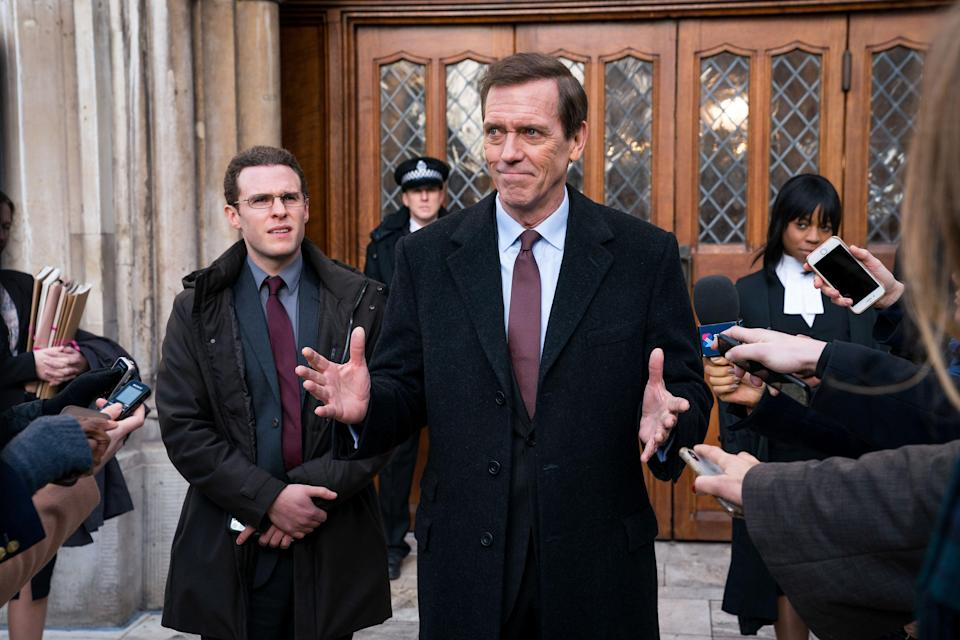Hugh Laurie as Tory minister Peter Laurence in 'Roadkill' (BBC/The Forge/Steffan Hill)