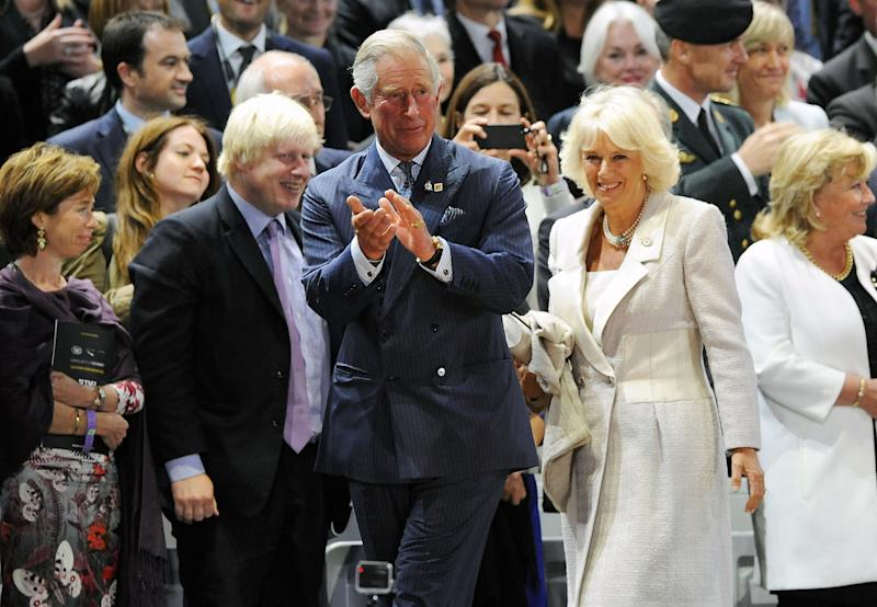 LONDON, ENGLAND - SEPTEMBER 10: Boris Johnson, Camilla, Duchess of Cornwall and Charles, Prince of Wales attend the Opening Ceremony of the Invictus Games at Olympic Park on September 10, 2014 in London, England. (Photo by Dave J Hogan/Getty Images for Invictus Games)