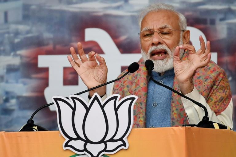 """India's Prime Minister Narendra Modi told a rally in New Delhi that if Muslims are """"sons of the soil"""" they need not worry about the new citizenship law (AFP Photo/Prakash SINGH)"""