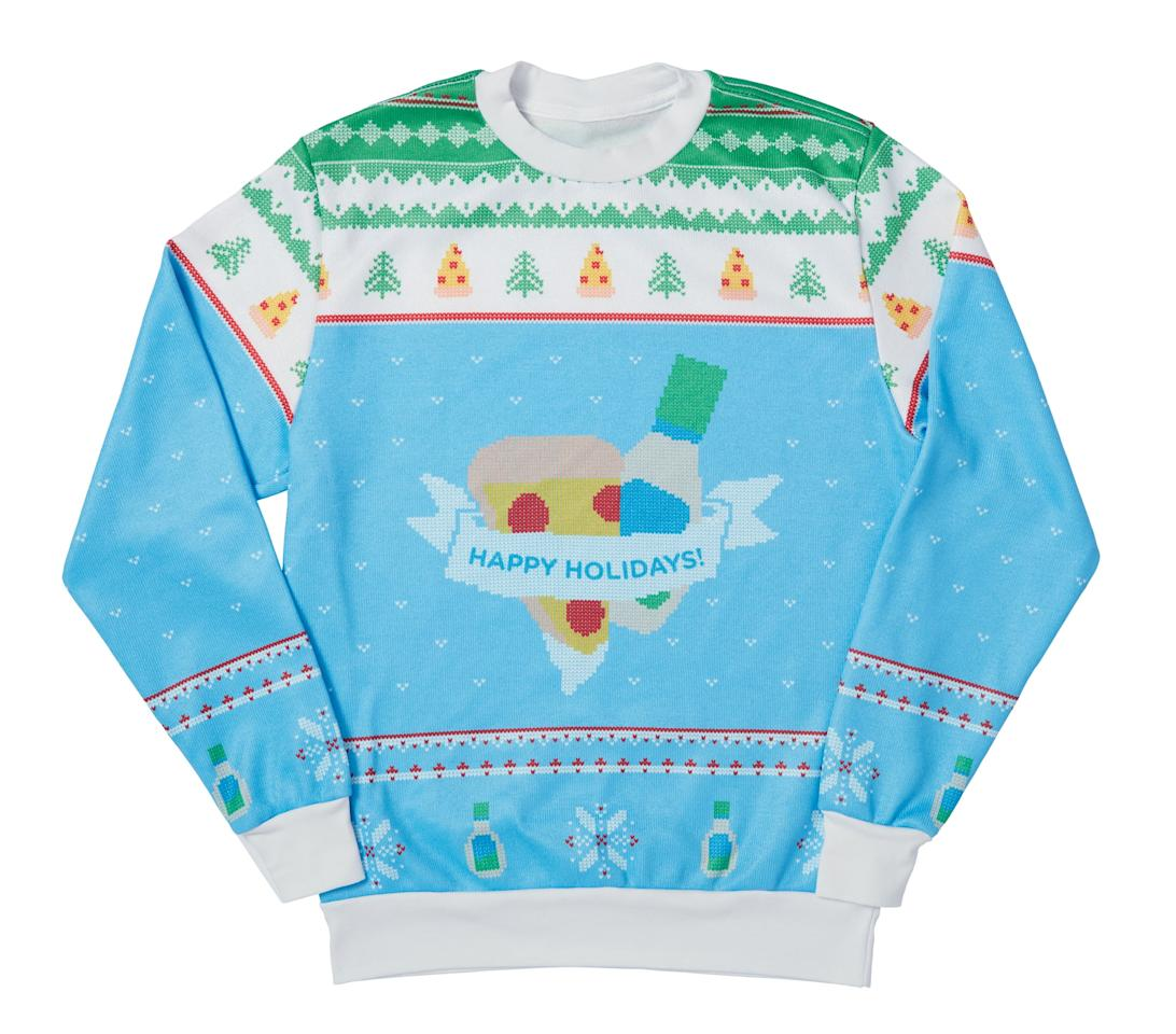 <p>This $50 sweater features pizza and ranch dressing, aka the most iconic food duo out there.</p>