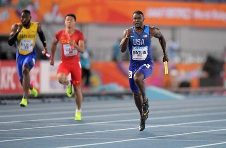 Apr 22, 2017; Nassau, Bahamas; Justin Gatlin runs the anchor leg on the United States 4 x 100m relay that won in 38.43 during the IAAF World Relays at Thomas A. Robinson Stadium. Mandatory Credit: Kirby Lee-USA TODAY Sports