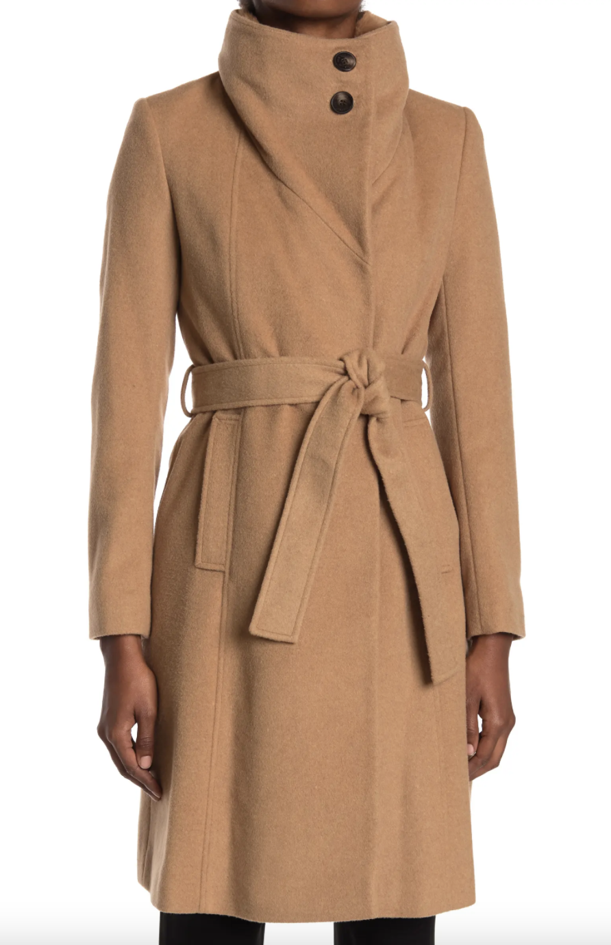 dark beige Sam Edelman Faux Fur Belted Coat with buttons at neck