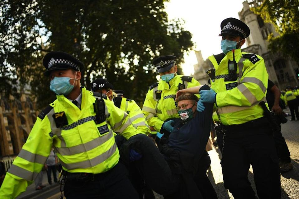 Dozens of Extinction Rebellion activists were arrested during protests in Westminster in 2020 (Getty Images)
