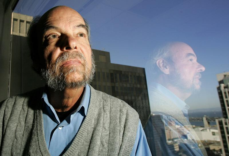 FILE - This March 30, 2005 file photo shows Peter Douglas, executive director of the California Coastal Commission at in his office in San Francisco. Douglas, who co-author of the initiative that created the powerful California Coastal Commission and served as executive director for years, died April 1, 2012. He was 69.  (AP Photo/Jeff Chiu, File)
