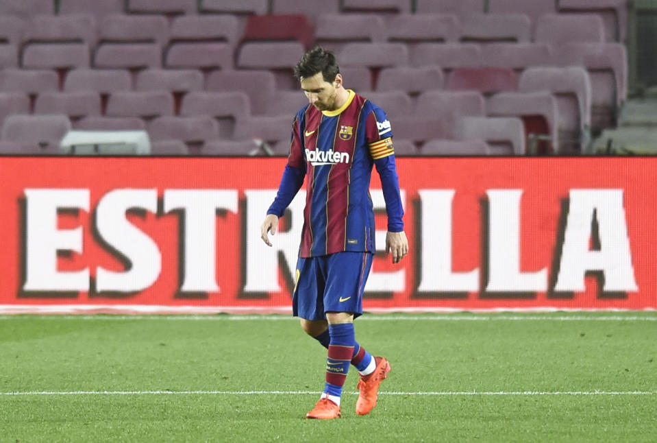Leo Messi during the match between FC Barcelona and Real Betis Balompie, corresponding to the week 9 of the Liga Santander, played at the Camp Nou Stadium, on 07th November 2020, in Barcelona, Spain. (Photo by Urbanandsport /NurPhoto via Getty Images)