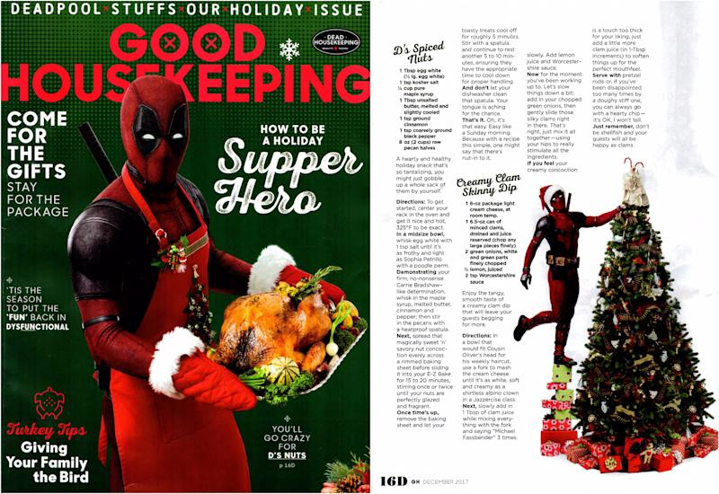 Deadpool does Thanksgiving guest editor Good Housekeeping